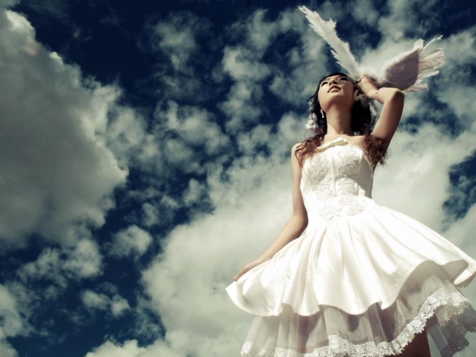 clouds white happiness wedding dresses wallpaper