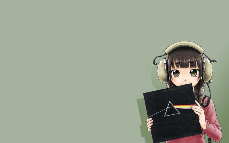 headphones Pink Floyd simple background anime girls original characters wallpaper