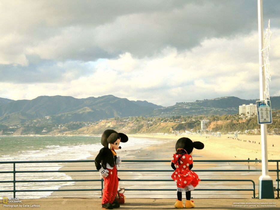 landscapes nature costume funny piers California National Geographic Mickey Mouse Santa Monica Beach railing Minnie Mouse wallpaper