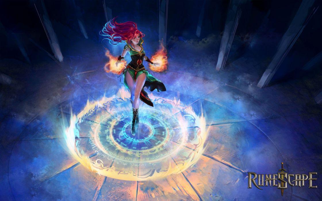 women flames mage video games blue red text fire redheads RPG video magic MMORPG pillars RuneScape swords magic circles game wallpaper