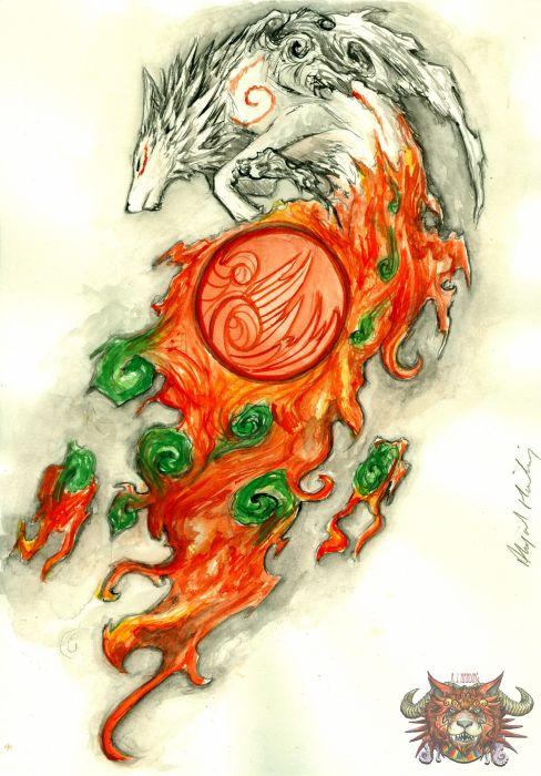 dragons Okami sox flare wallpaper