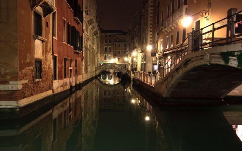 night Venice Italy canal wallpaper