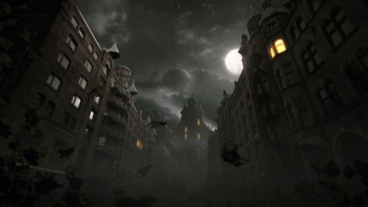 horror cityscapes night leaves artwork wallpaper