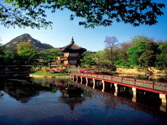Asian architecture lakes Seoul South Korea wallpaper