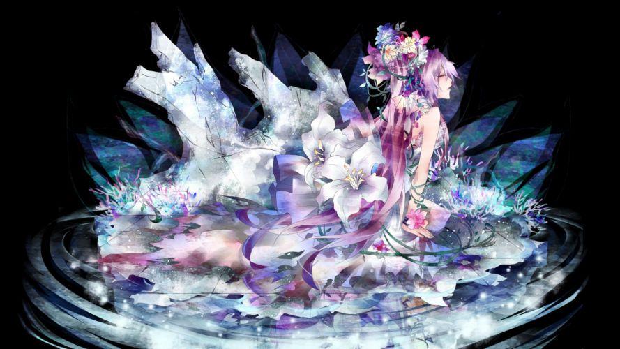 Vocaloid dress flowers Megurine Luka long hair pink hair closed eyes wallpaper