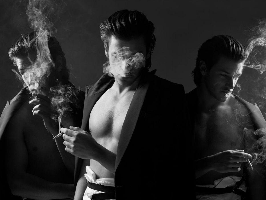 smoke men open shirt monochrome actors cigarettes Gaspard Ulliel wallpaper