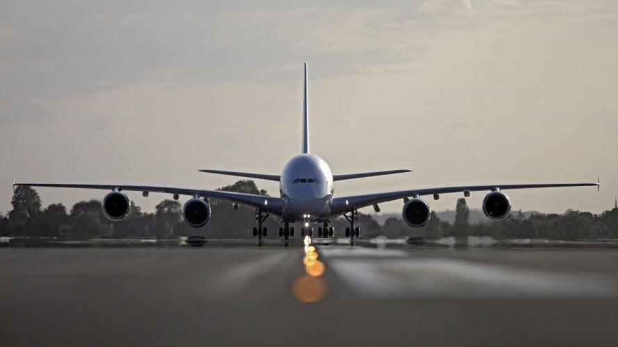 aircraft runway Airbus A380-800 aviation runway lighting wallpaper