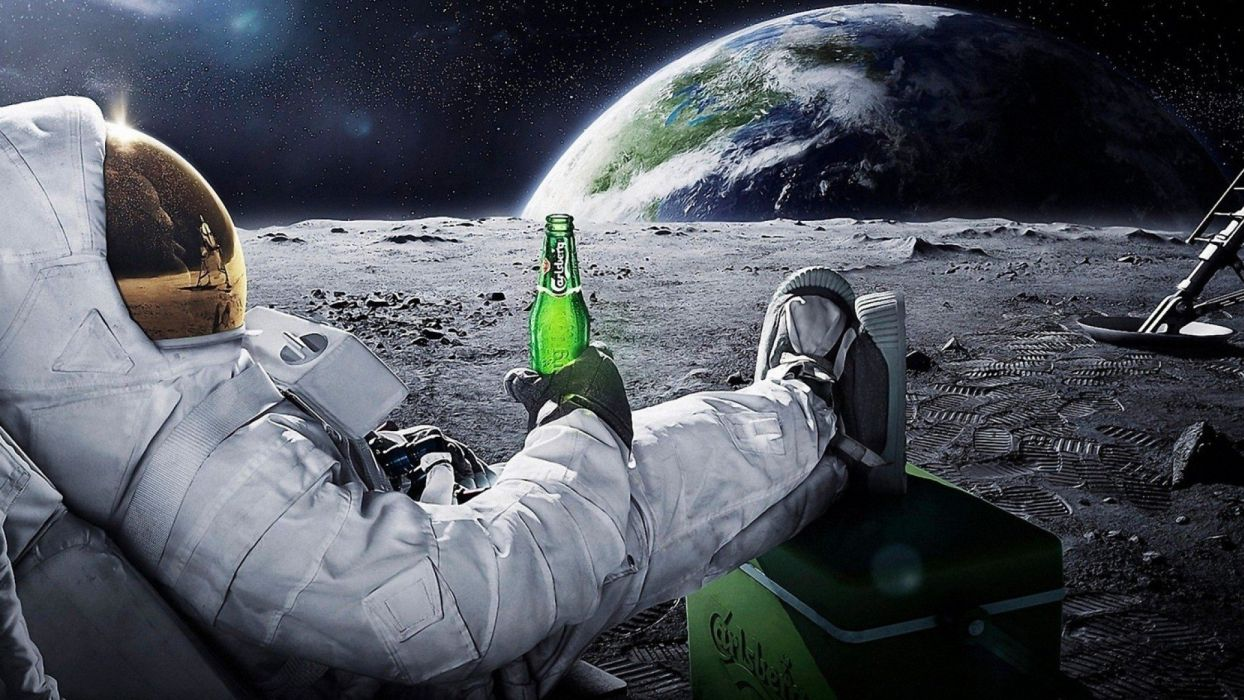 beers outer space Moon Earth funny spaceships relaxing Carlsberg space suits cosmonaut wallpaper