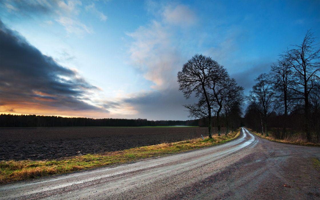 landscapes nature fields roads wallpaper