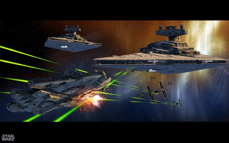 Star Wars Millennium Falcon Star Destroyer wallpaper
