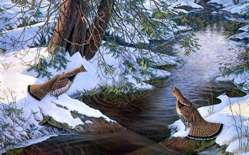 paintings snow birds creek Grouse wallpaper