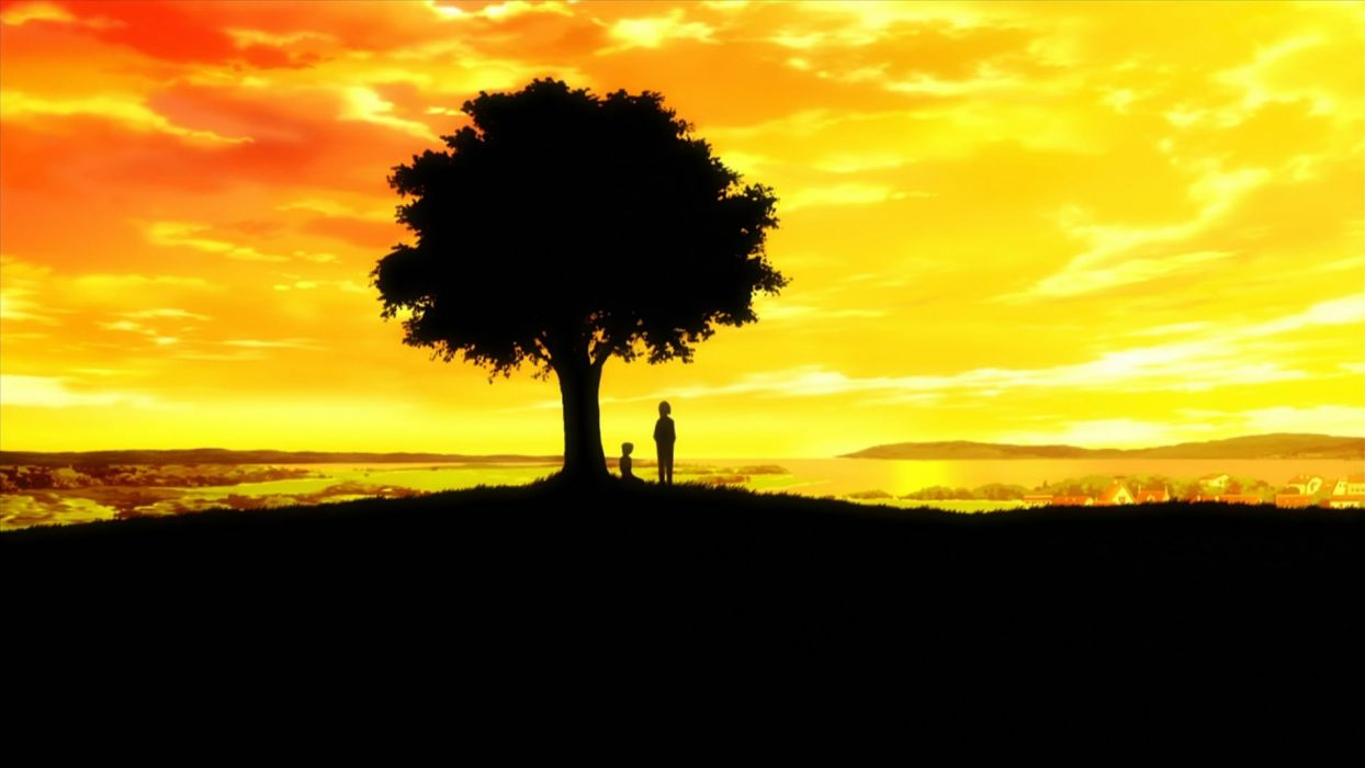 sunset trees silhouettes anime wallpaper