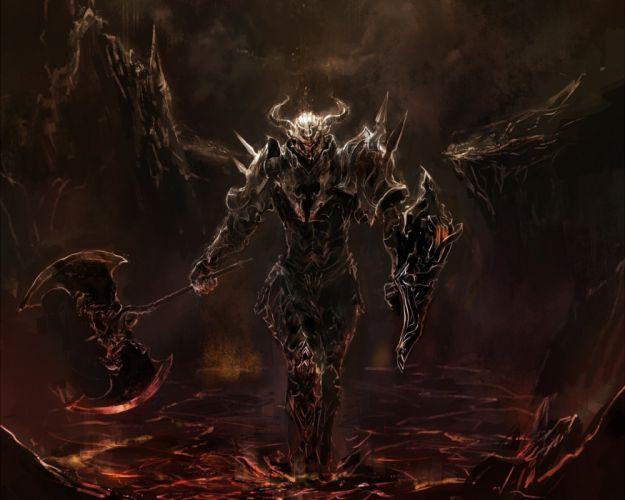 horns fantasy art armor axes artwork anime wallpaper