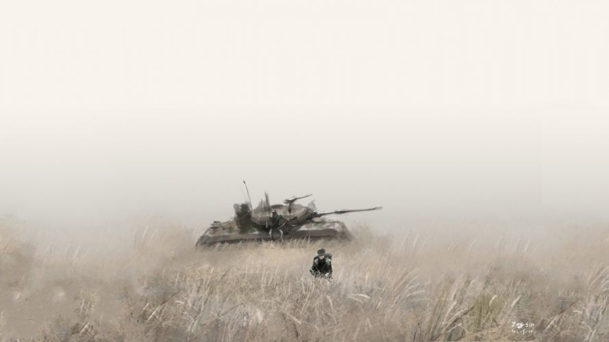 soldiers paintings army tanks drawn wallpaper