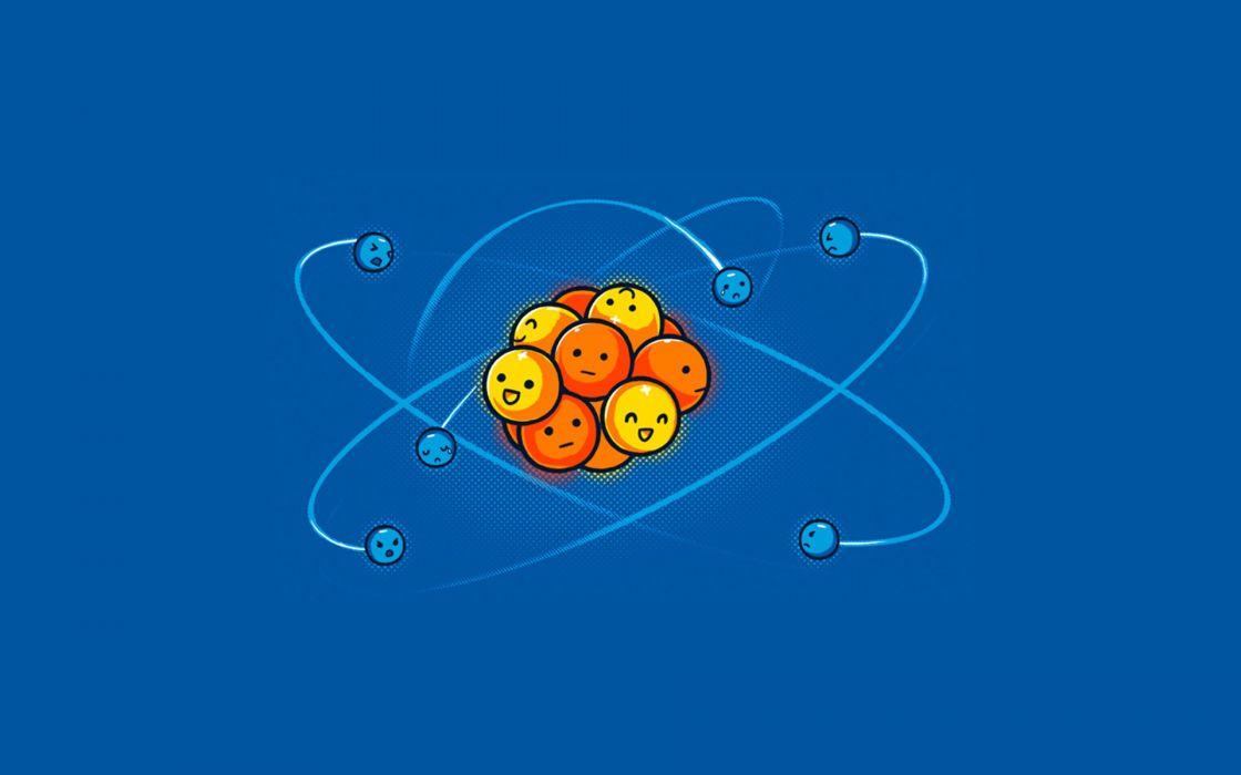 happy funny sad atom chemistry wallpaper