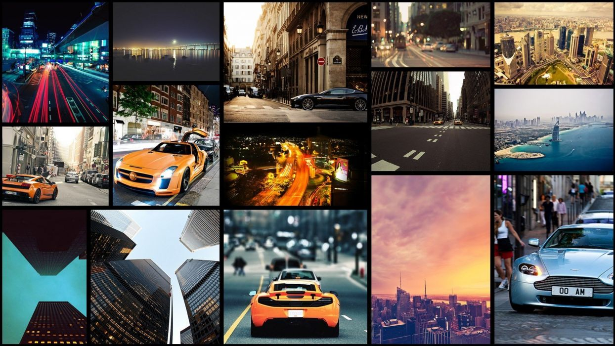 cityscapes cars collage wallpaper
