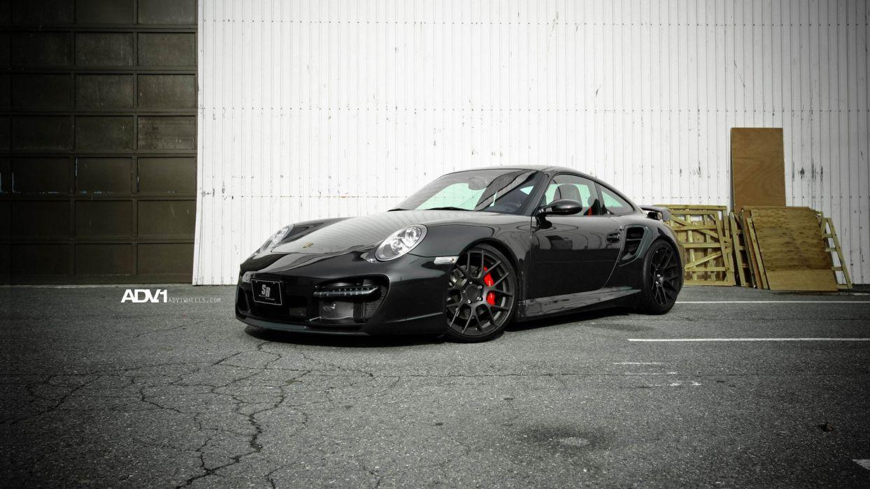 Porsche cars vehicles supercars turbo black cars ADV 1 exotic cars adv1 wheels wallpaper