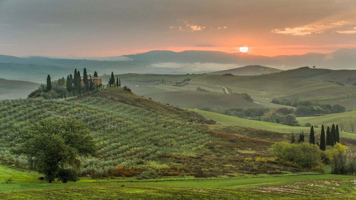 green sunset landscapes nature trees grass houses hills Italy roads Toscana wallpaper