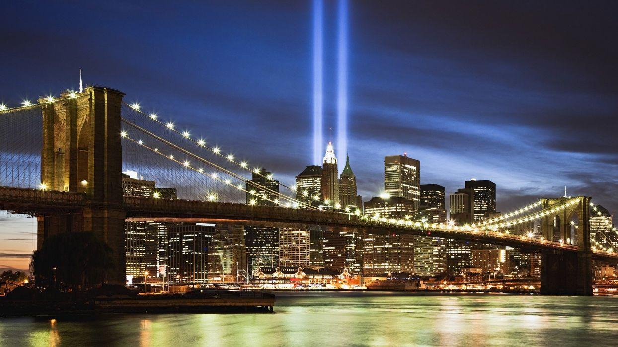 light World Trade Center Manhattan memorial East River wallpaper