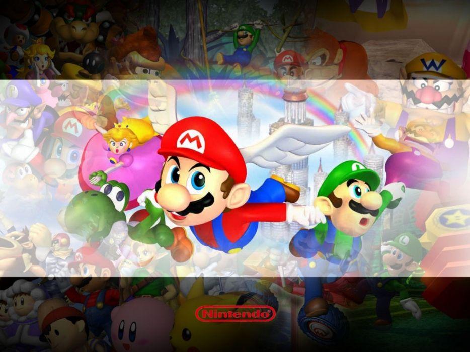 Nintendo Kirby video games Mario Pikachu Wario Super Smash Bros mario party wallpaper