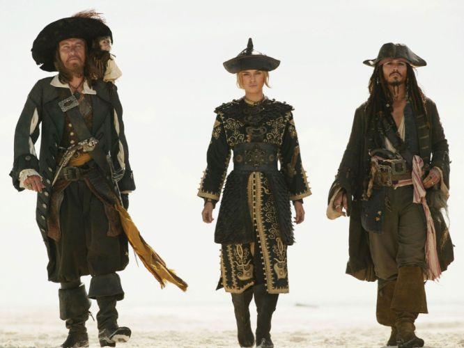 movies Keira Knightley film Pirates of the Caribbean Captain Jack Sparrow Captain Hector Barbossa Elizabeth Swann wallpaper