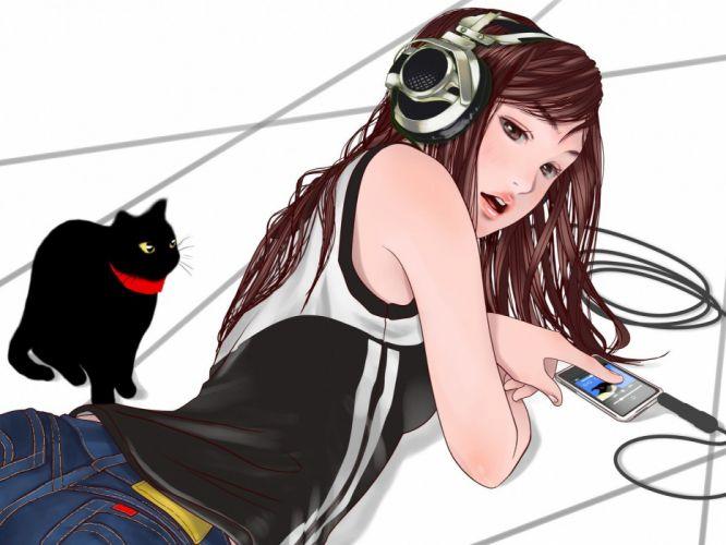 headphones anime girls wallpaper
