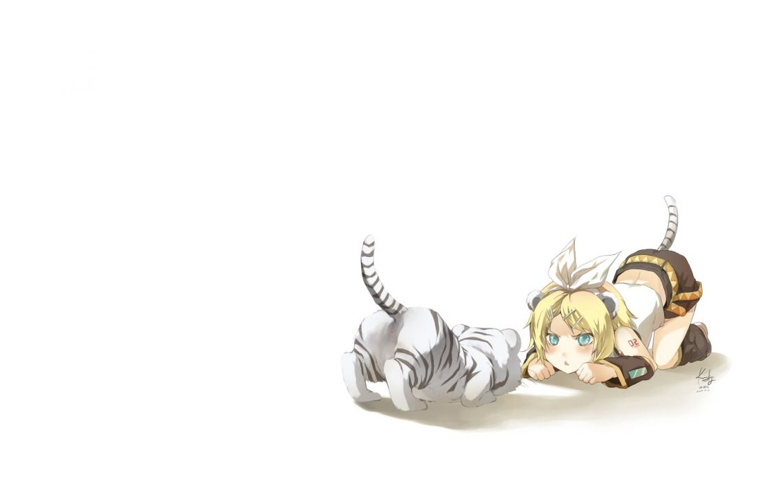 tails Vocaloid tigers Kagamine Rin animal ears simple background detached sleeves wallpaper