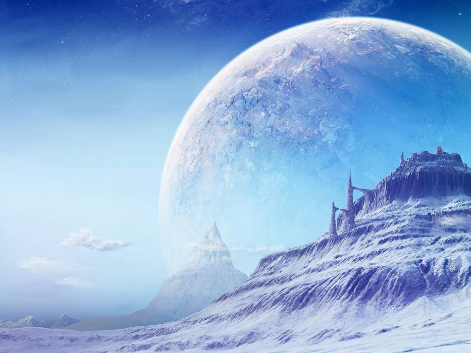 mountains snow outer space planets science fiction wallpaper