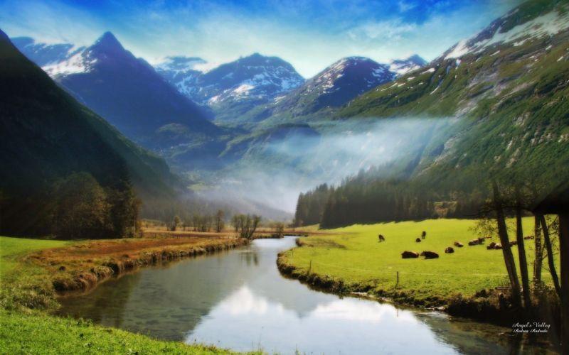 mountains landscapes nature fog rivers wallpaper