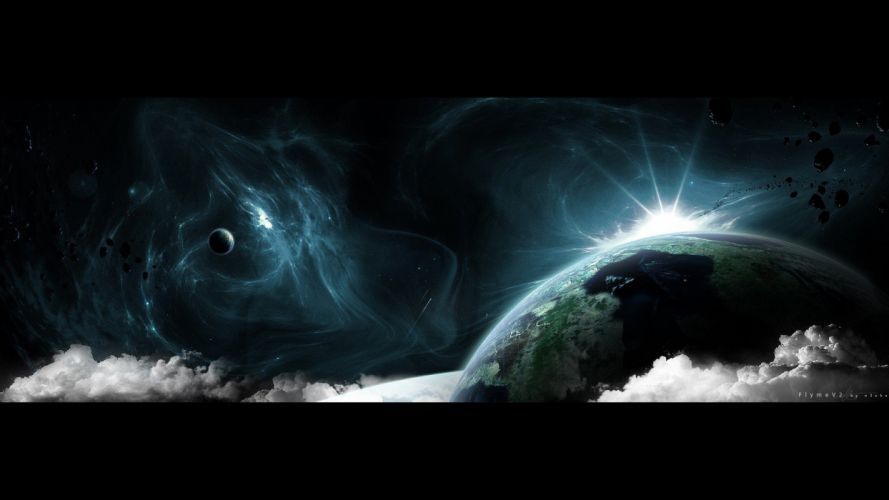 outer space planets nebulae surreal asteroids wallpaper