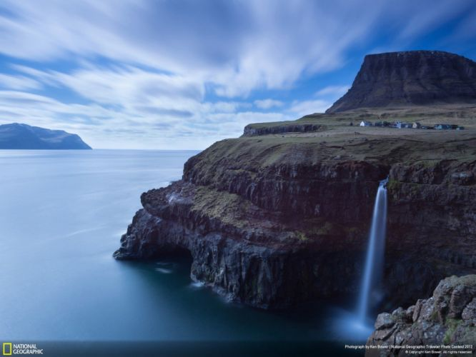 cliffs National Geographic waterfalls Faroe Islands Natural Geographic - Travellers Photo Contest 2012 wallpaper