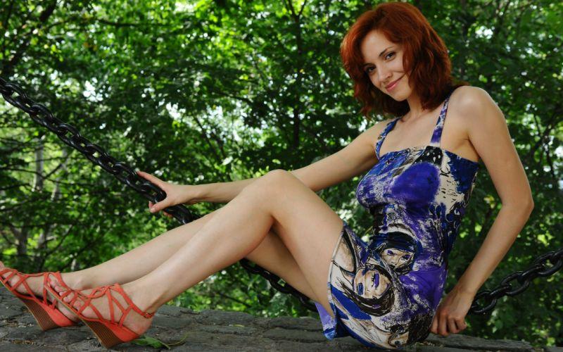 women trees dress redheads outdoors high heels smiling Leka C wallpaper