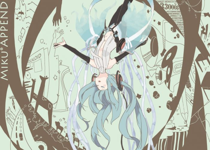 abstract Vocaloid gloves stars Hatsune Miku birds text cars animals hands houses long hair speakers record blue hair thigh highs roads twintails trumpets chairs shirts open mouth closed eyes newspapers pens Miku Append anime girls pencils Vocaloid Append wallpaper