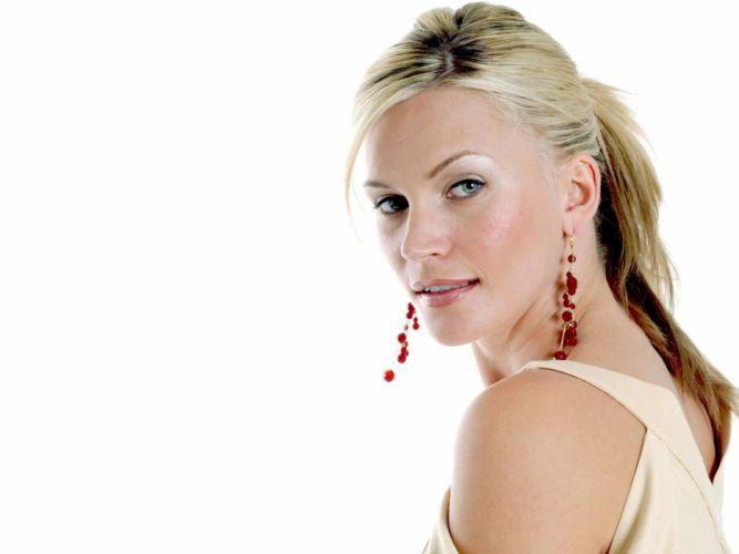 blondes women blue eyes Natasha Henstridge faces white background wallpaper