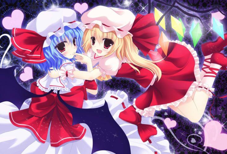 Touhou wings dress blue hair Flandre Scarlet Remilia Scarlet anime girls wallpaper