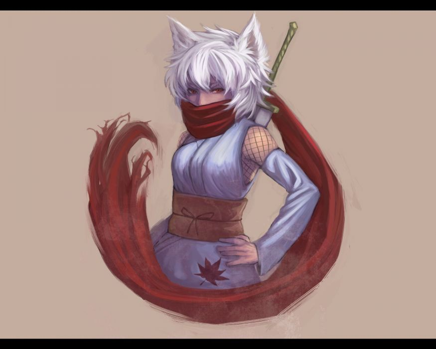 video games Touhou brown weapons animal ears red eyes short hair scarfs white hair Inubashiri Momiji gray hair Japanese clothes simple background inumimi anime girls detached sleeves swords wallpaper