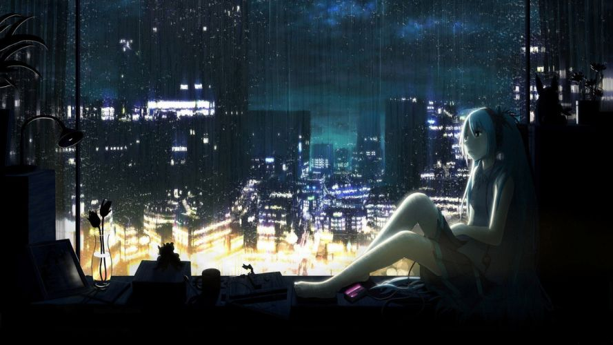 headphones water clouds cityscapes dark Vocaloid night lights rain flowers Hatsune Miku wet skirts cups long hair window barefoot lamps books skyscapes anime girls vase mp3 player wallpaper