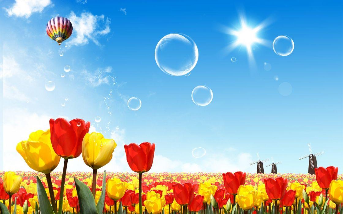 fantasy nature bubbles tulips drawings wallpaper