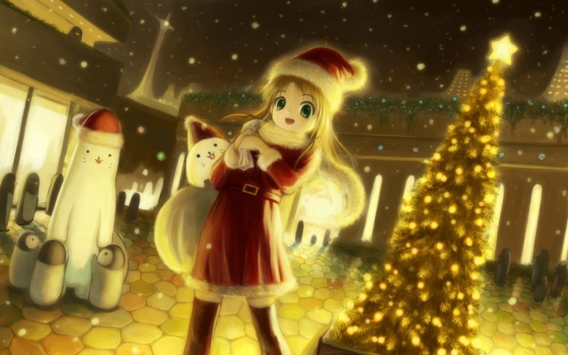 Christmas anime girls wallpaper