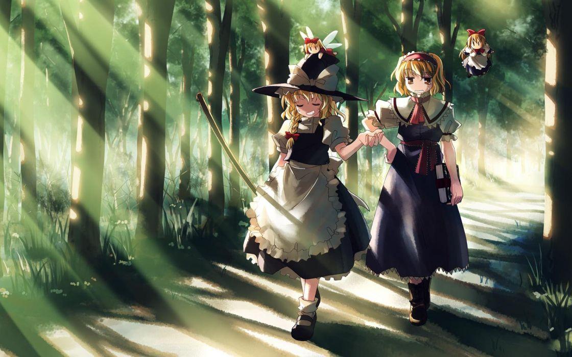 Touhou Kirisame Marisa anime Alice Margatroid Yuuki Tatsuya wallpaper
