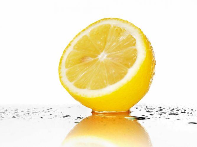 fruits wet water drops lemons white background wallpaper