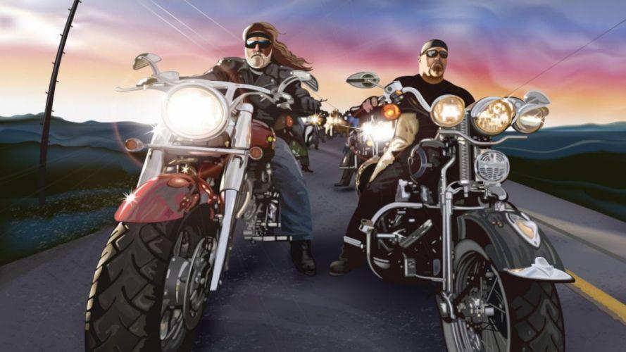 cartoons bikes chopper beard motorbikes bikers Harley-Davidson wallpaper