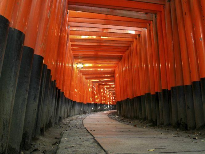 Japan architecture paths Fushimi Inari Shrine wallpaper