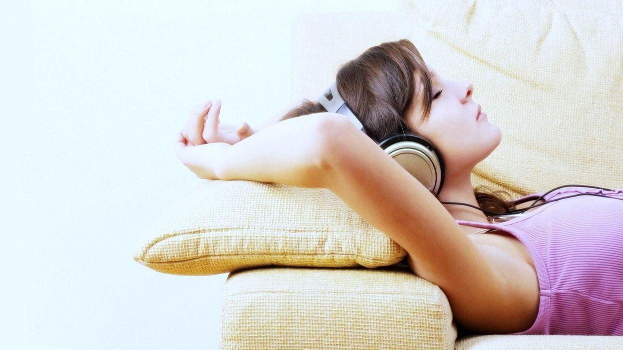 headphones women couch music wallpaper