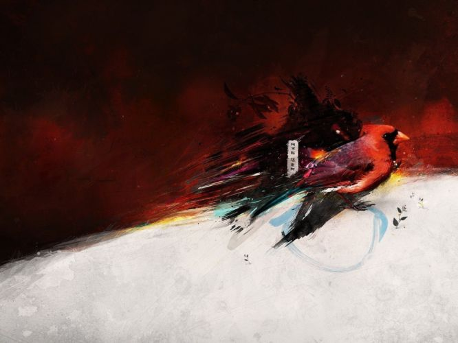 abstract red birds FWA wallpaper