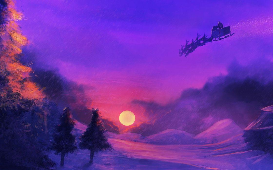 snow purple Santa wallpaper