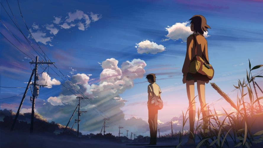 boy women clouds skylines Makoto Shinkai 5 Centimeters Per Second lovers anime skyscapes wallpaper