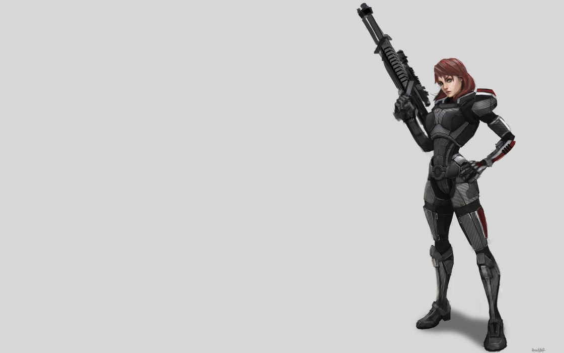 women video games Mass Effect artwork Mass Effect 3 FemShep Commander Shepard simple background wallpaper