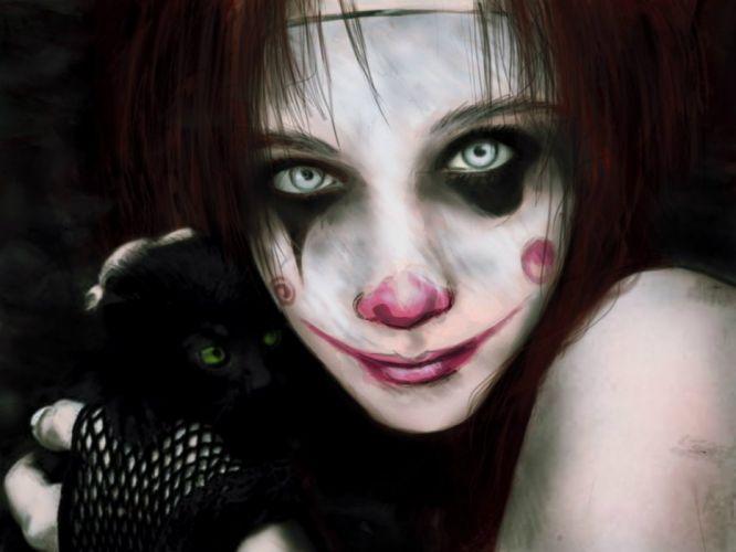 clown goth gothic emo dark fantasy wallpaper