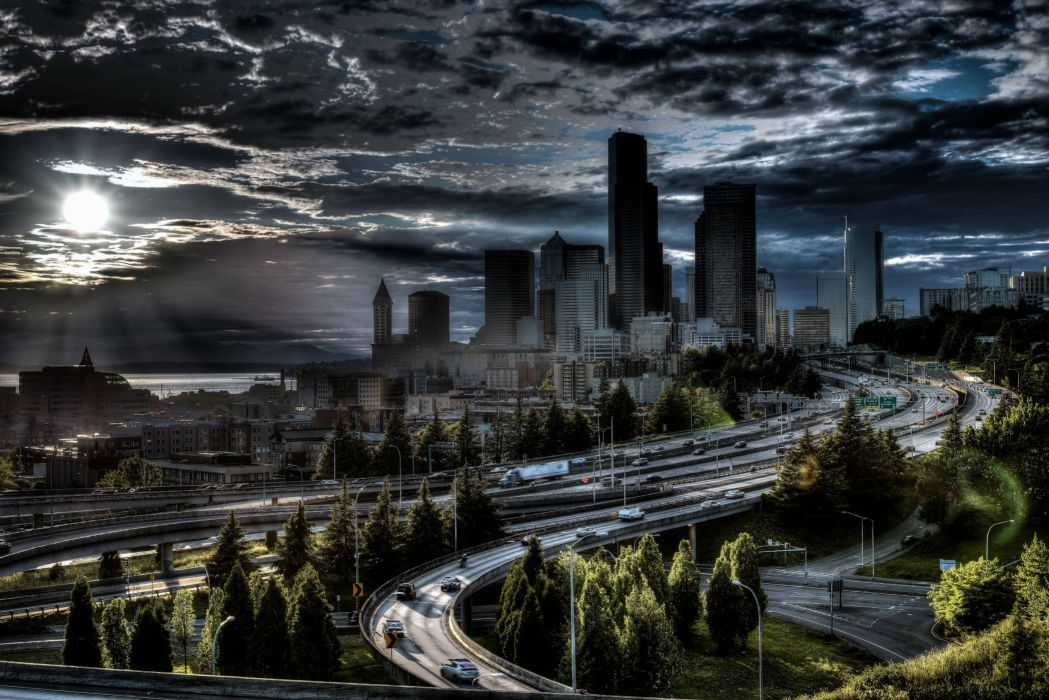 Jose Rizal Park Seattle city sunset hdr night clouds road skyscraper wallpaper